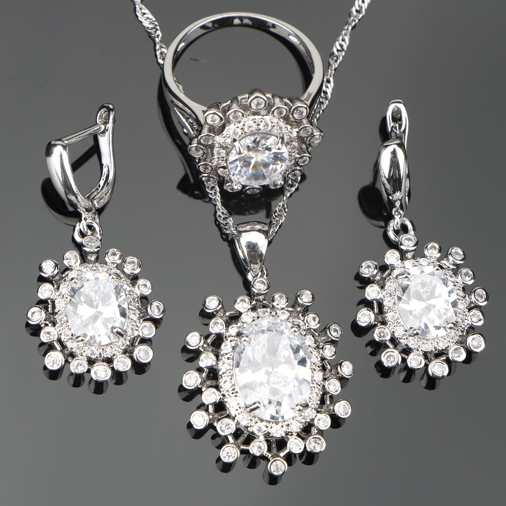 White Zircon Costume Silver 925 Jewelry Sets For Women Wedding Stones Rings Earrings Pendant&Necklace Set Jewelery Gift Box
