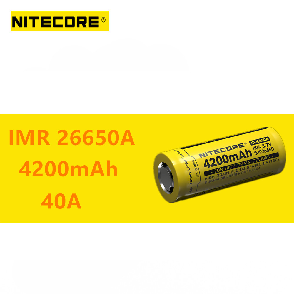 1pcs Nitecore IMR26650A IMR <font><b>26650A</b></font> 4200mAh 40A High Drain Rechargeable Battery Ideal for Vaping Devices image