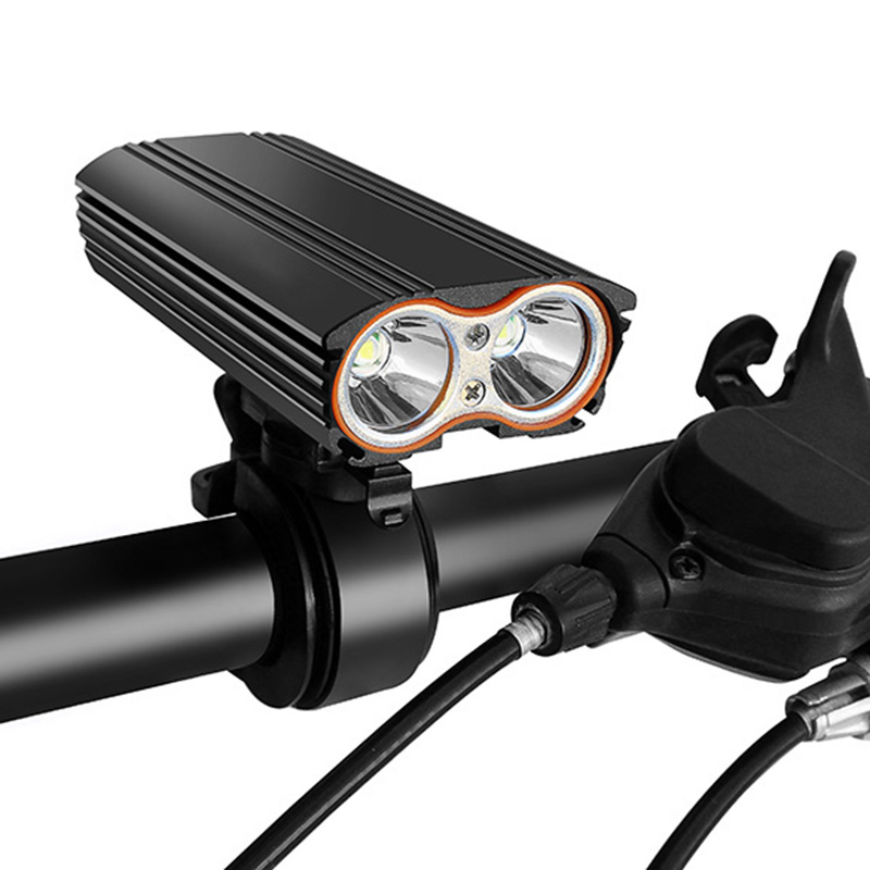 Built-in Battery Usb Rechargeable Bicycle Light Front Bike Light Flashlight Dual LED Headlight Accessories