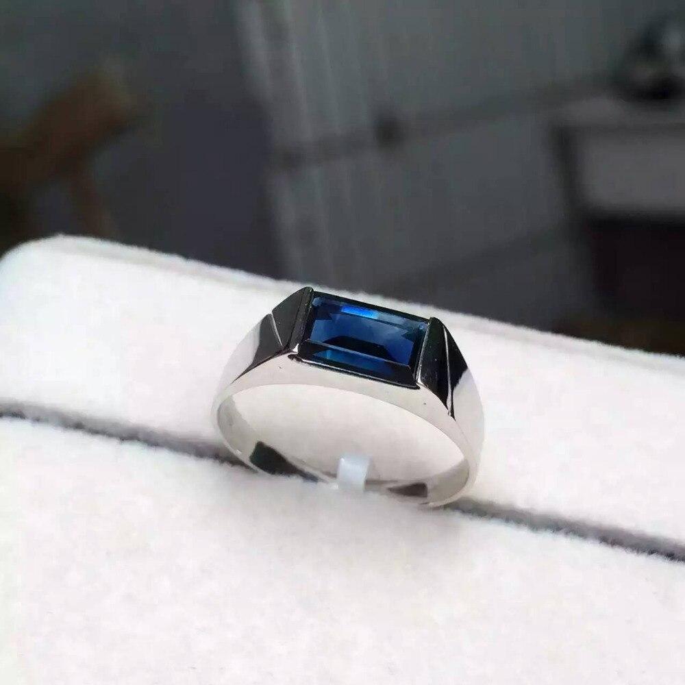 Натуральный голубой сапфир камень кольцо с натуральными драгоценными камнями кольцо 18 К белого золота модные элегантные простые квадратны