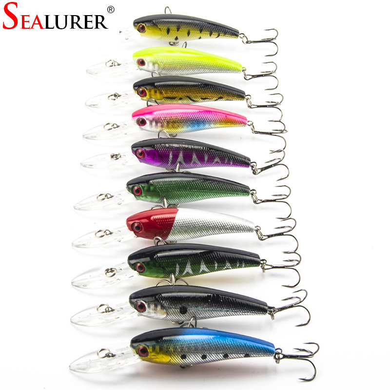 Lot 10 Pcs Fishing Lure Deep Swim Hard Bait Fish 9CM 8G Artificial Baits Minnow Fishing Wobbler Japan Pesca Fishing Tackle high quality fishing lure 14cm 23g sea fishing hard deep minnow artificial bait pesca wobbler fishing tackle hard bait 5pcs lot