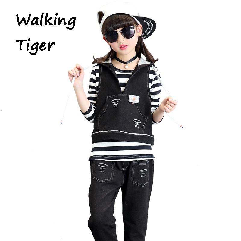 Jacket+T-shirt+jeans,Children Sets girls clothes long sleeve tops cowboys vest girl fall boutique clothing kids three-piece family fashion summer tops 2015 clothers short sleeve t shirt stripe navy style shirt clothes for mother dad and children