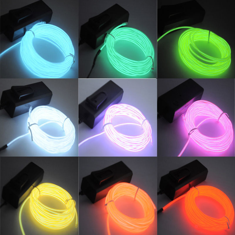 1m EL Wire Neon Light Dance Holiday Party Decor Novelty Light Neon LED Lamp Waterproof Flexible Rope Tube LED Strip String Light