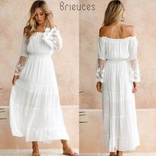 Brieuces Summer Dress Women 2018 Sexy Boho Style Off shoulder Maxi Dress Flare Sleeve White Lace Spliced Dress Female Vestidos dolman sleeve lace spliced popover dress