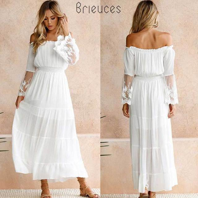 ab111c59b0fc Brieuces Summer Dress Women 2018 Sexy Boho Style Off shoulder Maxi Dress  Flare Sleeve White Lace Spliced Dress Female Vestidos