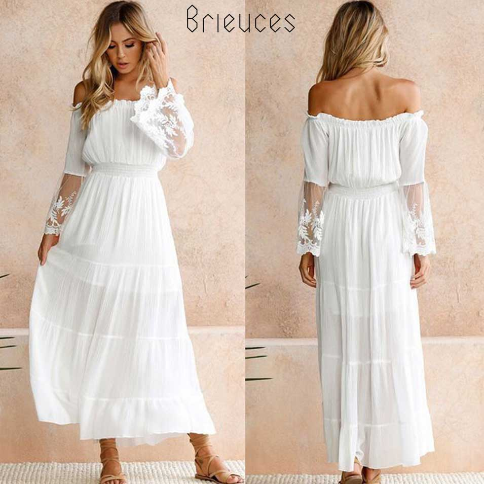 Brieuces <font><b>Summer</b></font> <font><b>Dress</b></font> <font><b>Women</b></font> <font><b>2018</b></font> <font><b>Sexy</b></font> <font><b>Boho</b></font> Style Off shoulder Maxi <font><b>Dress</b></font> Flare Sleeve White Lace Spliced <font><b>Dress</b></font> Female Vestidos image
