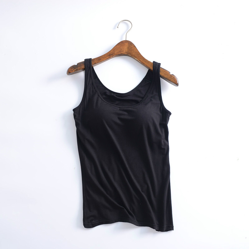 b1a87bd9723fe Women Built In Padded Bra Tank Top Night Sleepwear Breathable Modal Camisole  Solid Casual Basic Shirt Women Tops Bra Vest Summer-in Tank Tops from  Women s ...