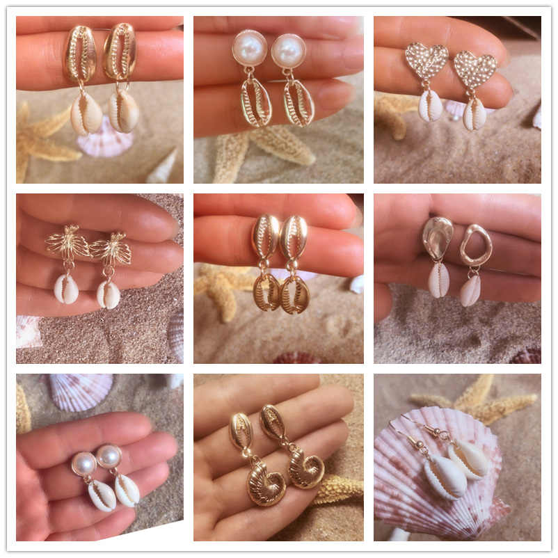 Bohemian Conch Shell Metal Drop Earrings for Women New style Big Circle Dangle Earring Fashion Jewelry 2019 Female Boho Shell