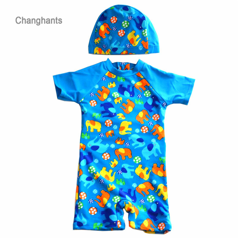 все цены на 2018 New Models Kid Boys Surfing Suits Children One Piece Swimsuit Blue with Elephant Pattern Long-Sleeve Swimwear Swimming cap