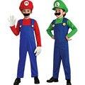 2017 Super Mario Bros Cosplay Costume For Kids Crianças Dos Desenhos Animados MARIO & LUIGI Crianças Roupas Conjuntos Para Festa de Natal do Dia Das Bruxas