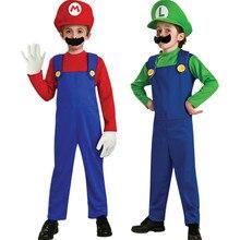 Hot Kids Super Mario Bros Costume Children's Set for Halloween Party Christmas MARIO & LUIGI Cosplay Clothing  For Kids