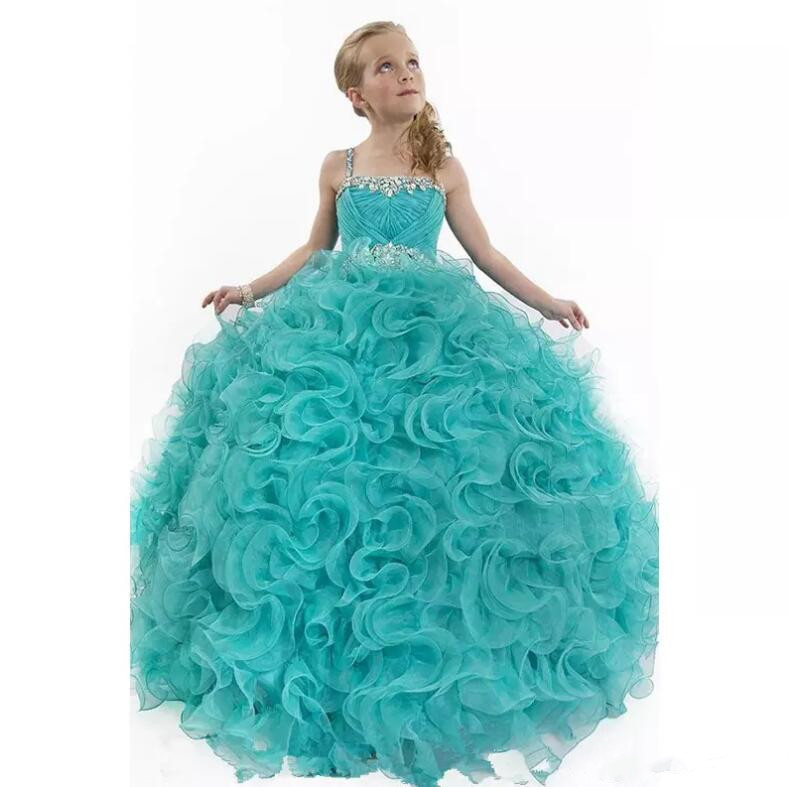 Crystals Beaded Pageant Gowns for Little Girls Ritzee Spaghetti Straps Luxury Ruffles Floor Length Flower Girl Dresses цена и фото