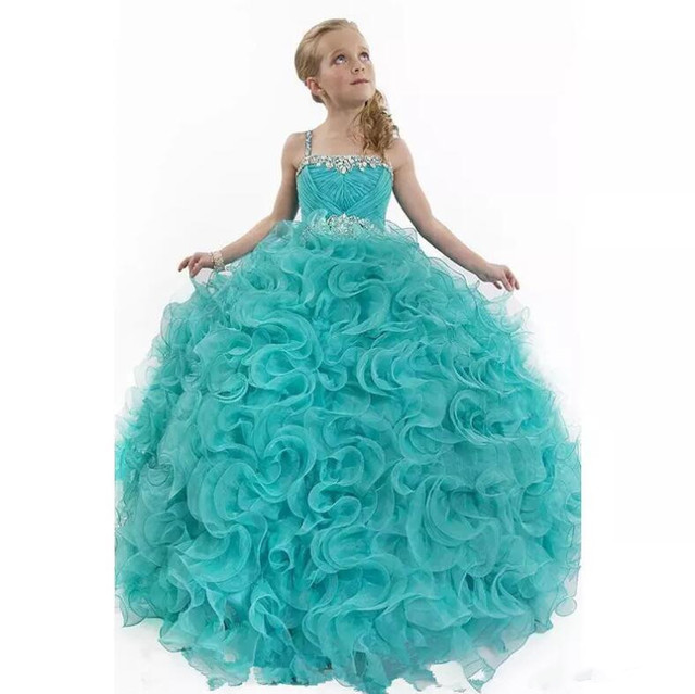 Crystals Beaded Pageant Gowns for Little Girls Ritzee Spaghetti ...