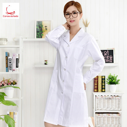 Women's White Winter Long Sleeve Slim Suit Collar Student Pharmacy Hospital Uniform Experimental Suit