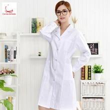 Womens white winter long sleeve slim suit collar student pharmacy hospital uniform experimental