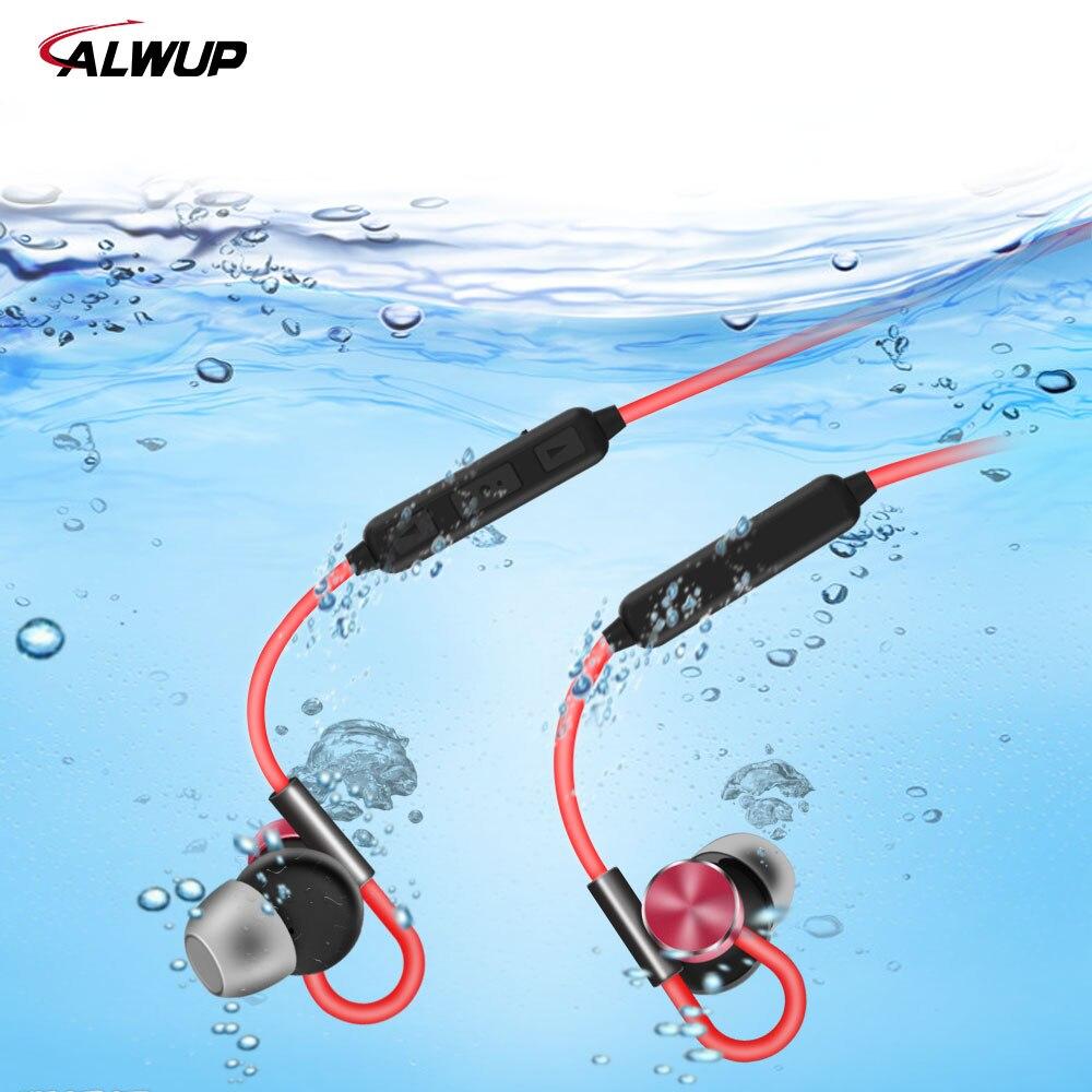 ALWUP magnético Bluetooth auricular impermeable IPX7 estéreo deporte auriculares inalámbricos auriculares Bluetooth para teléfono con micrófono