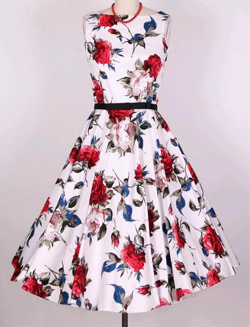 2016 Nuevo Vintage Impreso Vestido Sin Mangas Mujeres de Slash Cuello 60 s 50 s Audrey Hepburn Vestido de Lunares Rockabilly Vestidos de La Correa 8078