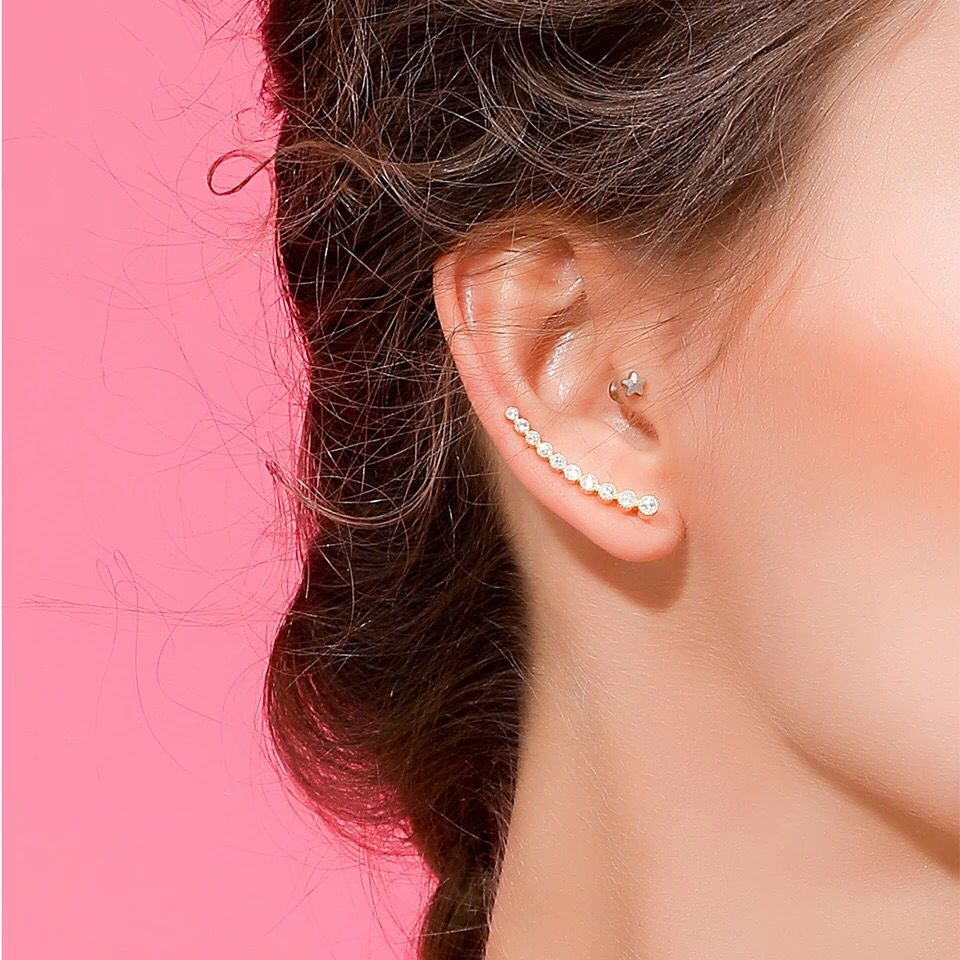 2017 bling AAA zirconia sparking factory promotion long ear wire climber cz 925 silver women long earring