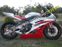 Hot Sales,For Yamaha YZF 600 R6 06 07 YZFR6 YZF R6 2006 2007 Red White Aftermarket Motorcycle Fairing Kit (Injection molding)