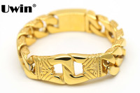 Mens Iced Out Bracelet Hip Hop Style Stainless Steel Bracelet Gold Plated High Quality Fashion Jewellery