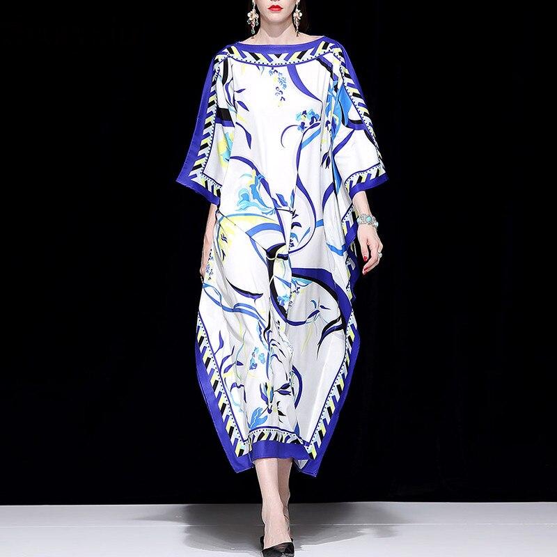 Svoryxiu 2018 디자이너 가을 느슨한 빅 사이즈 맥시 드레스 여성 패션 batwing 슬리브 보헤미안 휴가 캐주얼 롱 드레스-에서드레스부터 여성 의류 의  그룹 1