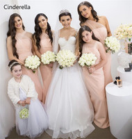 Cinderella Lovely Peach Color One Shouder Sleeveless Satin Mermaid Bridesmaid Dresses With Sheer Tulle Wedding Party Dresses