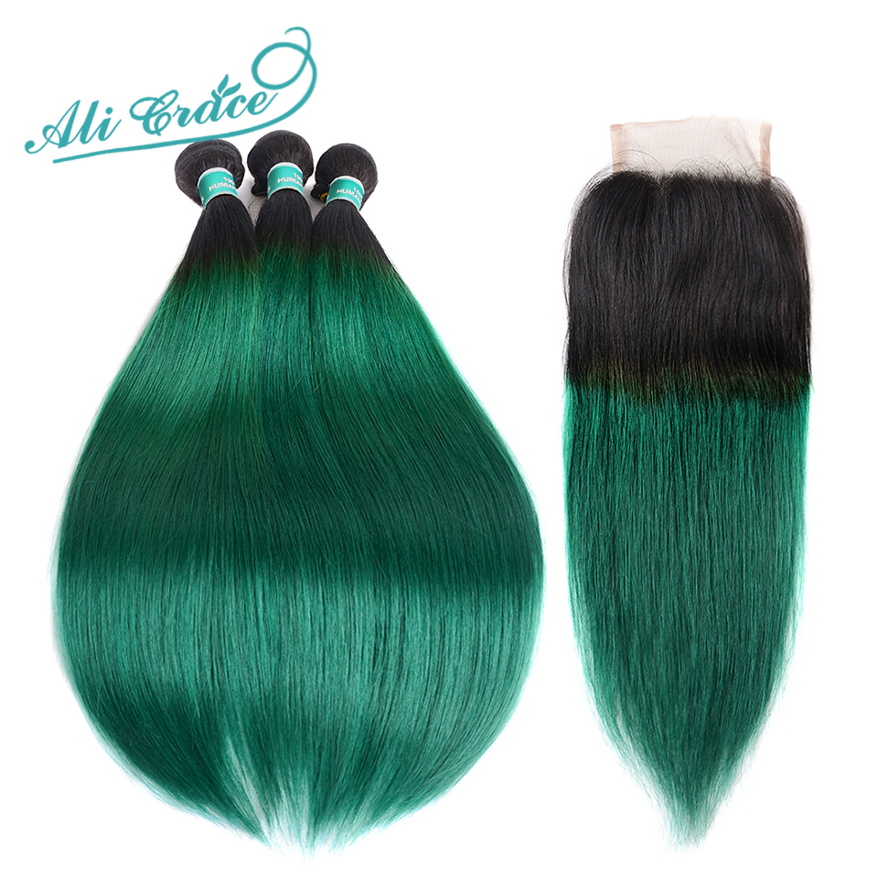 Ali Grace Pre Colored Ombre Hair Bundles With Closure T1B Green Dark Roots Remy Silk Straight