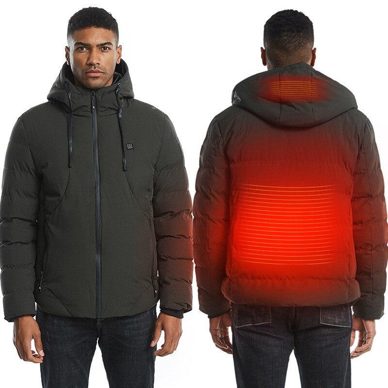 2019 Outdoor Mens Women Heated Coat USB Long Sleeves Heating Hooded Jacket Warm Winter Thermal Clothing Skiing Waterproof Jacket