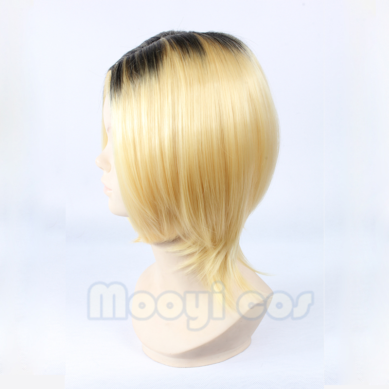 Image 3 - Haikyuu!! Kozume Kenma Cosplay Wig 35cm Short Straight Heat Resistant Synthetic Hair Black Gradient Blond Gold Anime WigAnime Costumes   -