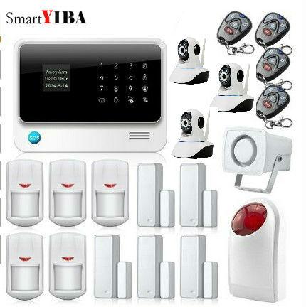 SmartYIBA WIFI Home Alarm Burglar Protection System GSM SIM Alarm Flash Siren Infared PIR Motion Sensor Camera Security Alarmes
