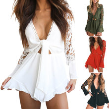 4f6cbc9453 Summer Women Jumpsuit Sexy V Neck Lace Long Sleeve Short Playsuit Elastic  Waist Ruffle Rompers JL