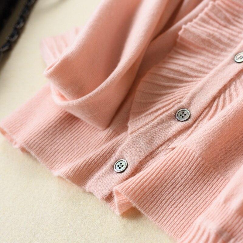 Pink Tricoté Col Vintage noir Cardigan Femmes Cachemire Automne blanc V Femelle Solide Ruché caramel Beige cou 2018 Bowknot 30 956 Cardigans Blet Laine oatmeal light 48gPttq