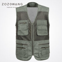 Zozowang new refreshing mesh short solid casual zipper Big pocket plus size summer spring autumn waist coat men fashion vest