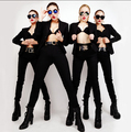 Hot 2016 new sexy moda primavera terno cantor europeus e americanos boate DJ feminina Ms terno preto trajes de roupas