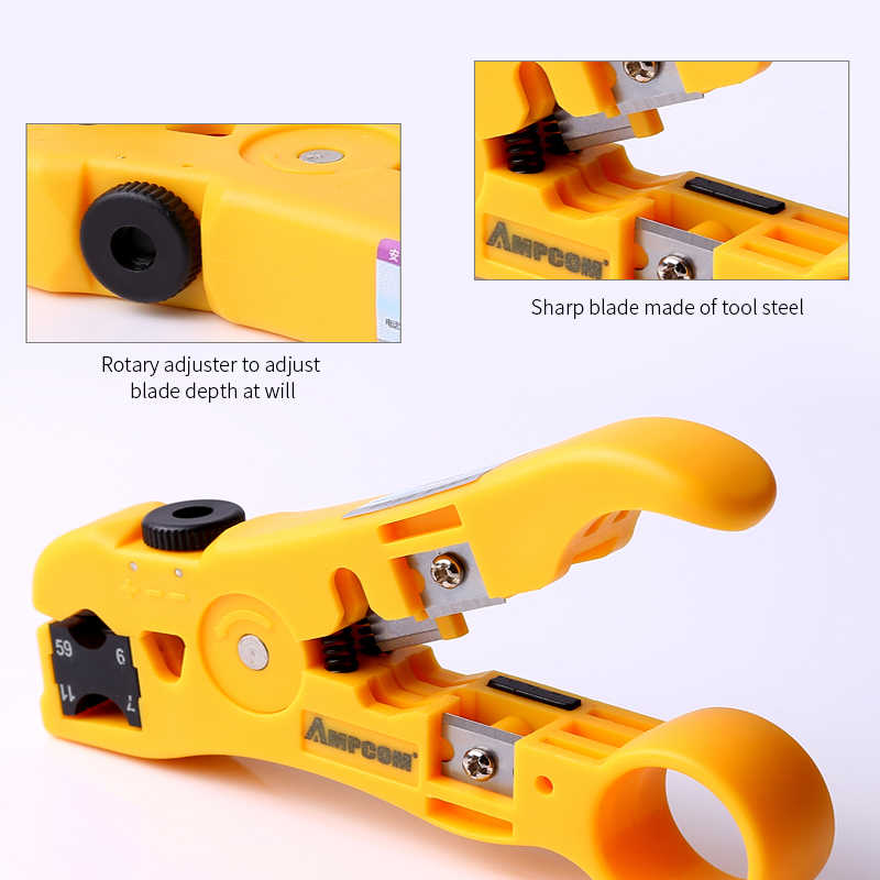 Инструмент для зачистки кабеля AMPCOM All-In-One инструмент для зачистки проводов инструмент для сжатия коаксиального кабеля, круглый кабель, резак и плоский кабель