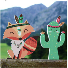 Nordic Cute Cartoon Ins Wood Wall Stickers Children Kids Baby Nursing Room Home Living Decorations Supplies