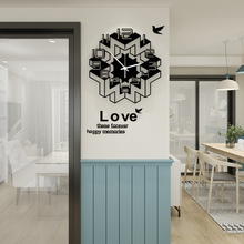MEISD Silent Geometric Space Creative Black Wall Clock Modern Design With Wall Stickers Hanging Clocks Wall Watch Free Shipping creative geometric flower black wall clock modern design with wall stickers 3d quartz hanging clocks free shipping home decor