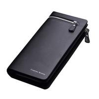 Famous Fashion Brand Men Genuine Leather Zipper Large Long Clutch Wallet Male Multifunction Handbag Soft Purse