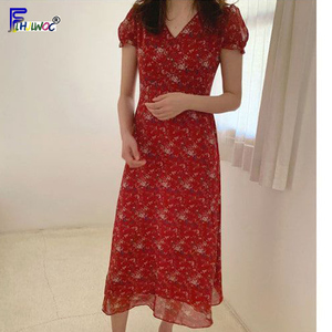 Image 5 - Chiffon Dresses Women Summer Korean Style Clothes Short Sleeve A Line Red Floral Printed Vintage Cute Dress Long