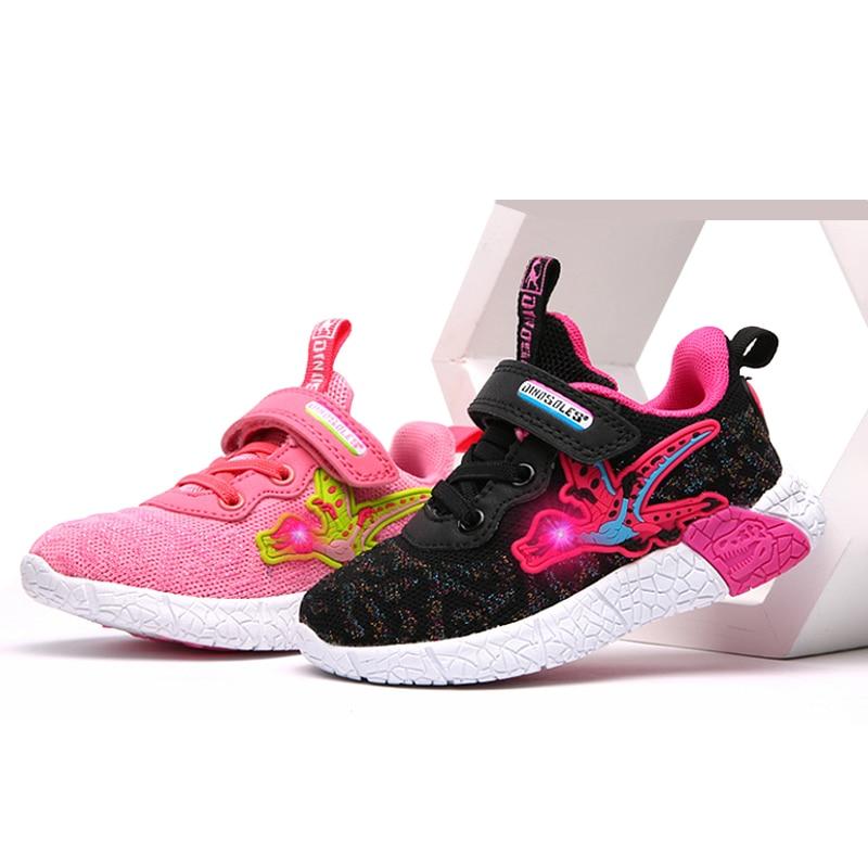 Dinoskulls Girls Sneakers LED 3D Dinosaur Causal Kids Shoes Light Up Mesh Children's Trainers 2019 Glowing Baby Girls Sportwear