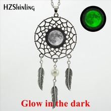 HZShinling New Arrival Wings Full Moon Dream Catcher Necklace Handmade Glass Dome Glow in the dark Lunar Eclipse Jewelry(China)