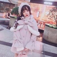 Принцесса сладкий Лолита шерстяное пальто Bobon21 супер съемный плюшевые плащ два комплекта из кружева и Труба рукава шерстяное пальто c1569