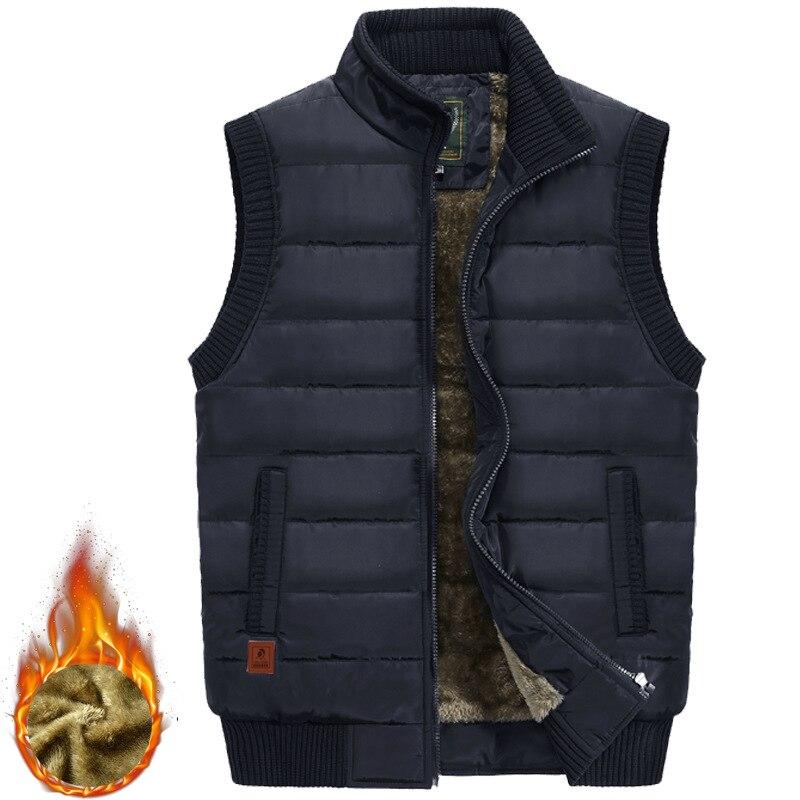 2019 Winter Casual Vest Men Thicken Warm Sleeveless Jacket Autumn Cotton-Padded Vest Men Fleece Coats Waistcoat Colete Masculino