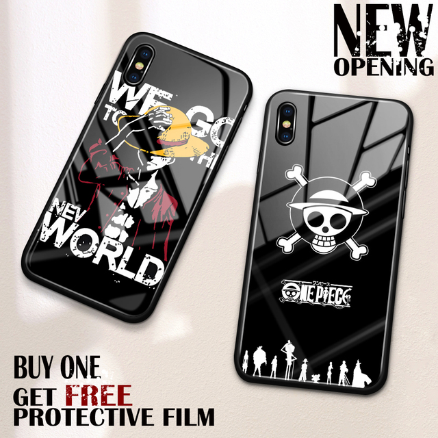 new style dbd86 ddf2e US $3.7 |Aliexpress.com : Buy Cell Phone Case for iPhone xs max glass back  cover case one Piece Luffy case for iPhone 6 6s 7 8 Plus X XS Max XR from  ...