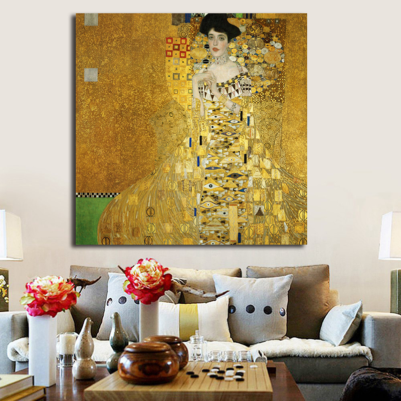 Klimtes Portrait of Adele Bloch-Bauer Canvas Painting Vintage Poster Art Oil Print Wall HD Picture Modern Home Decor