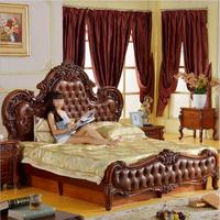 modern American solid wood country style Fashion bedroom set furniture d1408