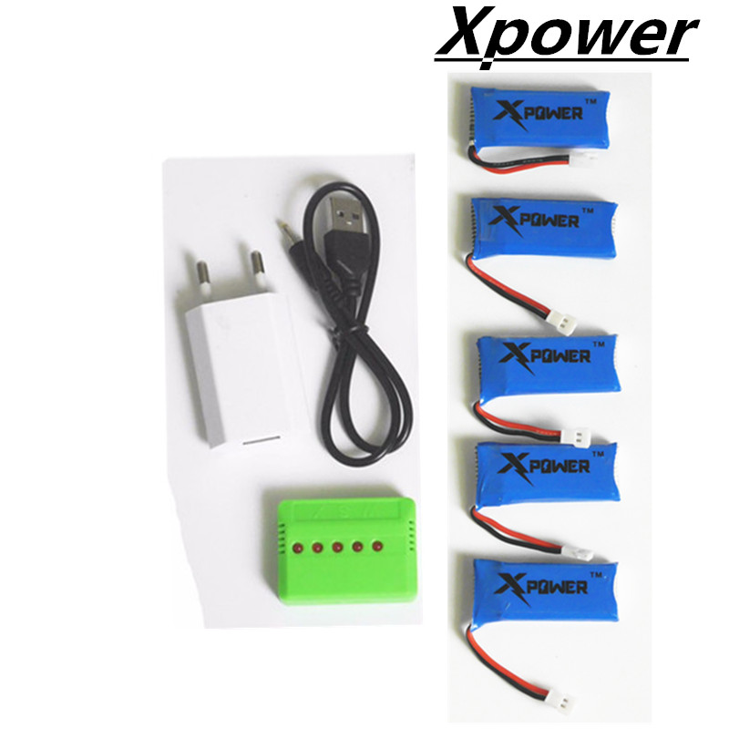 ФОТО 5pcs 3.7V 500mAh LiPo Battery With USB Charger Plug Hubsan H107 H107c H107P YD928 U816 Rc Wltoys H31 H37