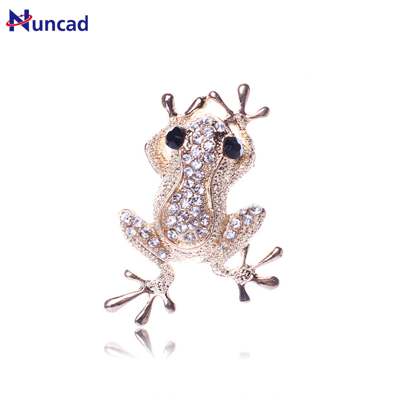 2017 New Trendy Rhinestone Animal Frog Brooch Pins Crystal Brooches for Women Decoration Jewelry Clothes Accessories