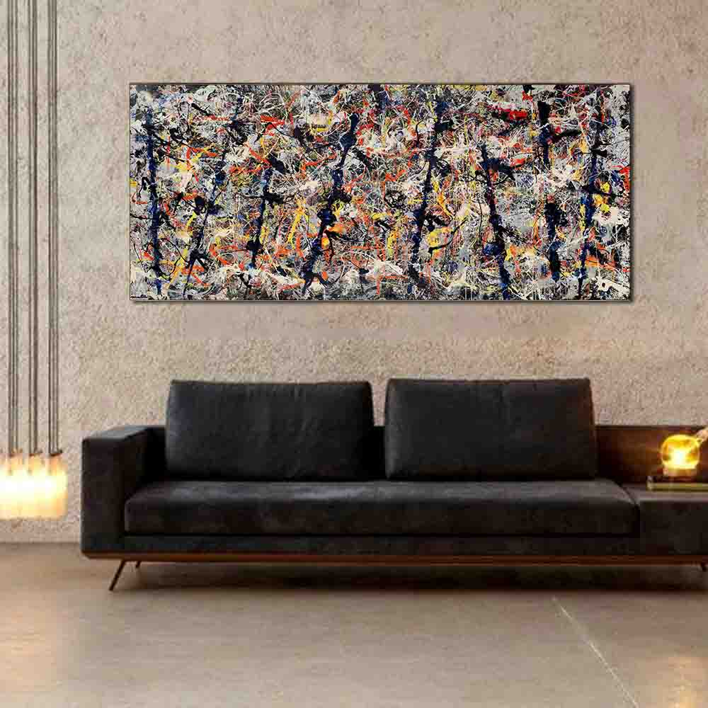 WANG ART Large Scale Abstract Graffiti Painting Wall Art Picture Home Decor Living Room Modern Canvas