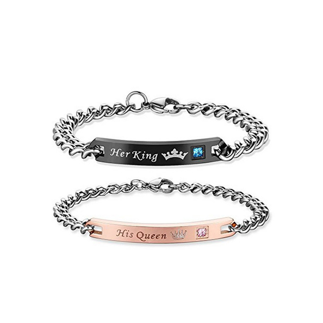 """Lovers' Couple Bracelets Stainless Steel Bangle For Women Men Jewelry """"His Queen"""" """"Her King"""" Bracelets & Bangles"""
